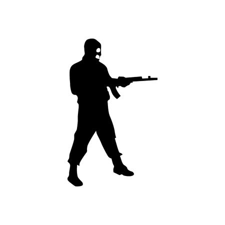 murderer: Robber silhouette black isolated on white background