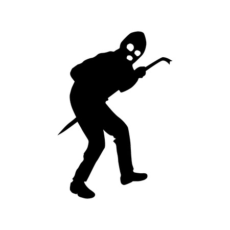 kidnapper: Robber silhouette black isolated on white background