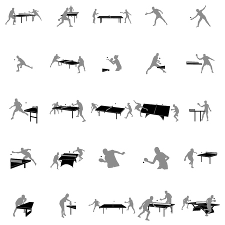 Table tennis players silhouette set on a white background