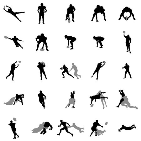 Rugby players silhouette set on a white background