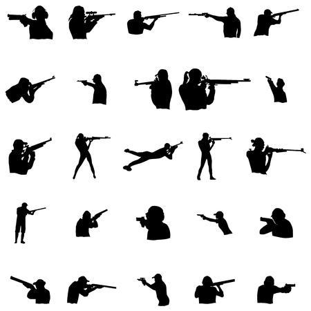Shooting men silhouette set on a white background Vettoriali