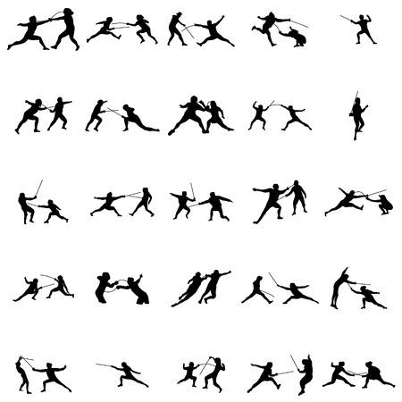 Escrime jeu de silhouette sur un fond blanc