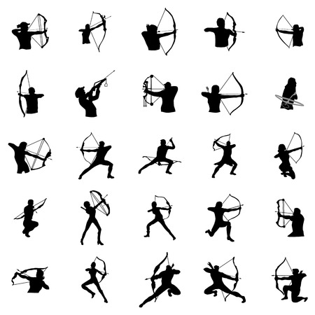 Archer silhouette set on a white background