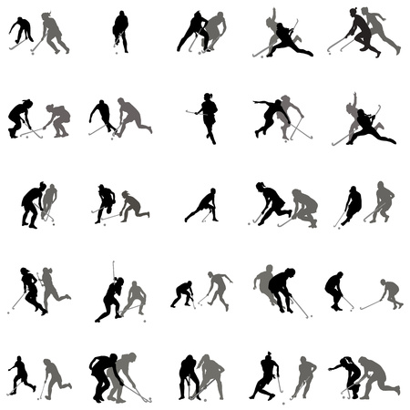 Players in hockey on the grass silhouette set on a white background Vectores