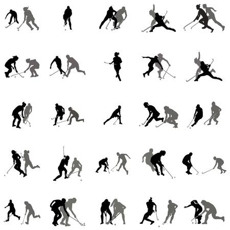 Spelers in hockey op het gras silhouet set op een witte achtergrond Stock Illustratie