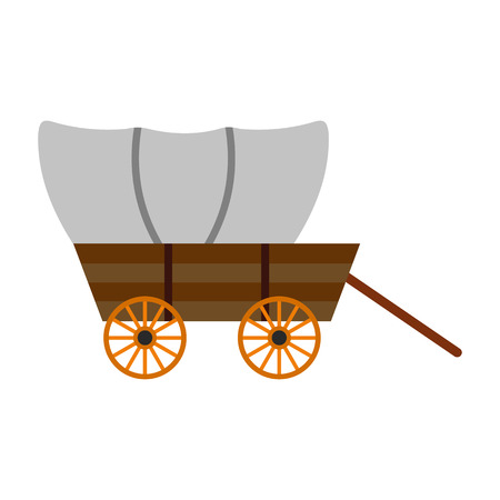 Western covered wagon icon isolated on white background