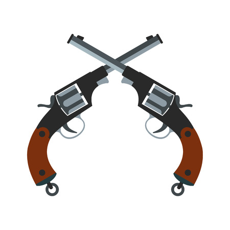 iron defense: Crossed revolvers icon isolated on white background