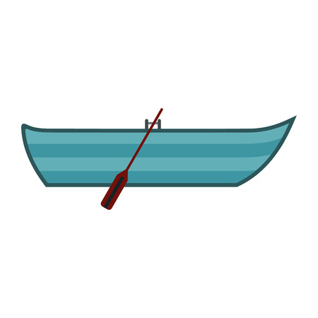 barque: Boat with paddles icon in flat style isolated on white background Illustration