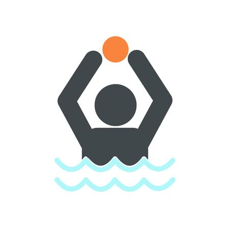 waterpolo: icono de waterpolo de estilo plano aislado en el fondo blanco