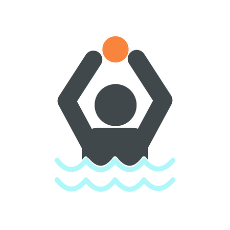 waterpolo: Water polo icon in flat style isolated on white background Illustration
