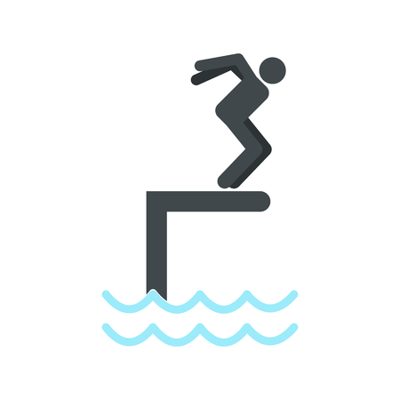 somersault: Jumping in a pool icon in flat style isolated on white background