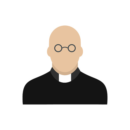 homily: Priest icon in flat style isolated on white background
