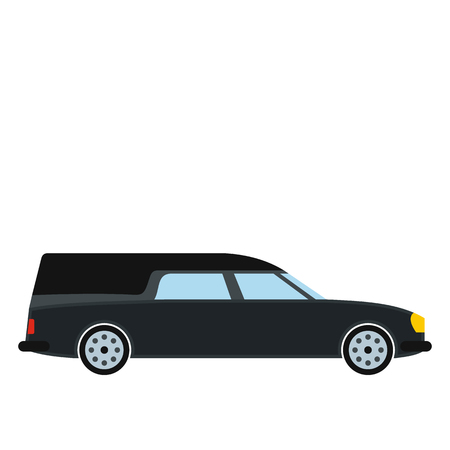 hearse: Hearse car icon in flat style isolated on white background Illustration