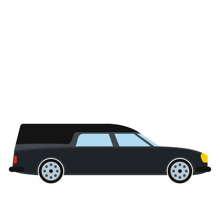 icono del coche del coche fúnebre en estilo plano aislado en el fondo blanco