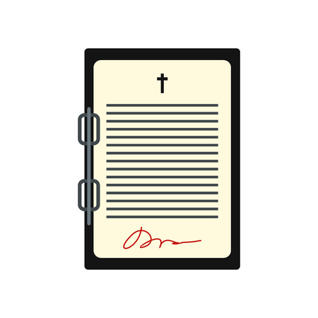 signing papers: Testament letter icon in flat style isolated on white background