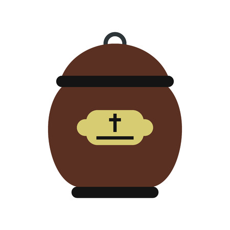 urn: Cremation urn icon in flat style isolated on white background