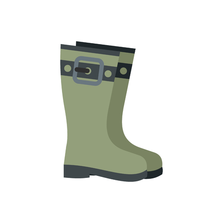 galoshes: Rubber boots icon in flat style isolated on white background Illustration