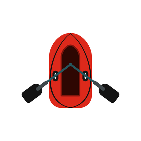 oars: Red inflatable boat with oars icon in flat style isolated on white background