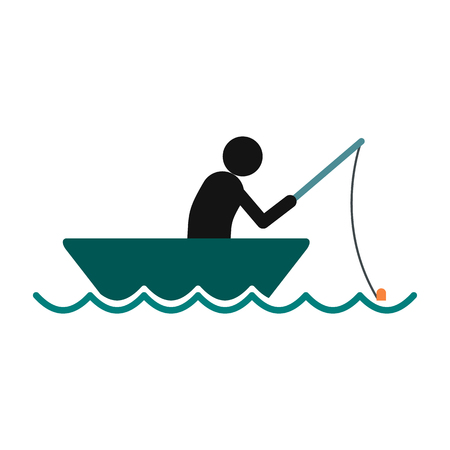 barque: Fisherman in a boat icon in flat style isolated on white background