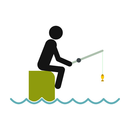 fisher man: Fisherman sitting on pier with rod icon in flat style isolated on white background Illustration