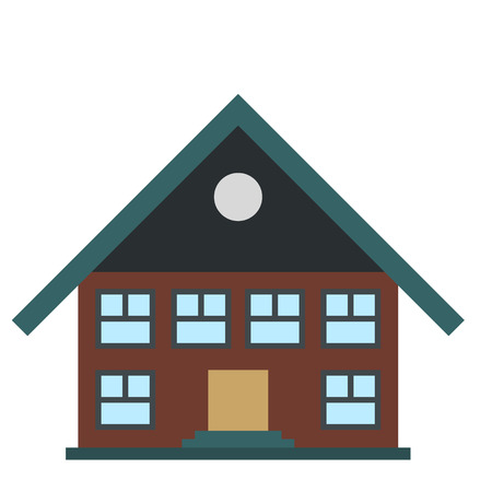 suburban street: Two-storey house icon in flat style isolated on white background