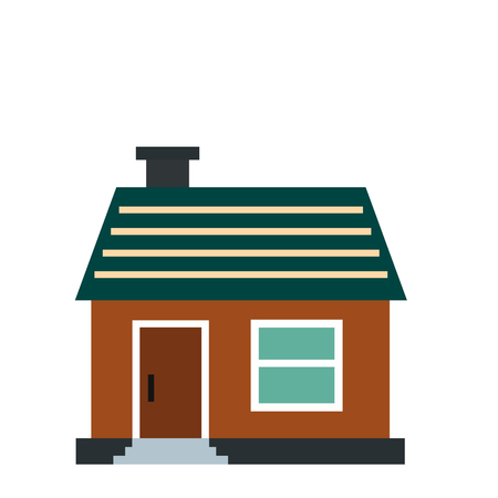 cottage: Small cottage icon in flat style isolated on white background