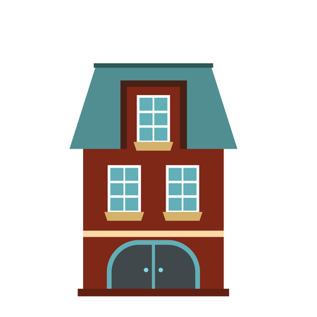 two storey house: House with a mansard and garage icon in flat style isolated on white background Illustration