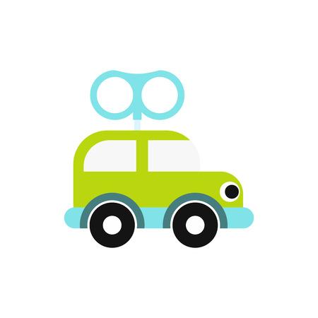 Uhrwerk Spielzeugauto-Symbol in flachen Stil isoliert auf weißem Hintergrund Vektorgrafik