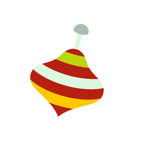 spinning top: Toy spinning top icon in flat style isolated on white background