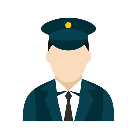 Train conductor icon in flat style isolated on white background Vector Illustration