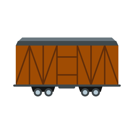 flatcar: Train cargo wagon icon in flat style isolated on white background