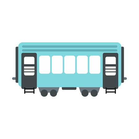waggon: Passenger railway waggon icon in flat style isolated on white background