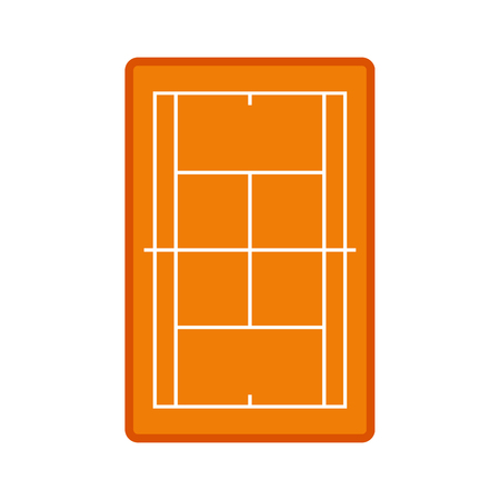synthetic court: Tennis court icon in flat style isolated on white background