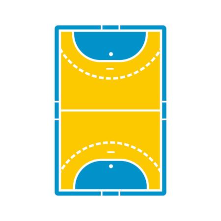 terrain de handball: Handball icône sur le terrain dans un style plat isolé sur fond blanc Illustration