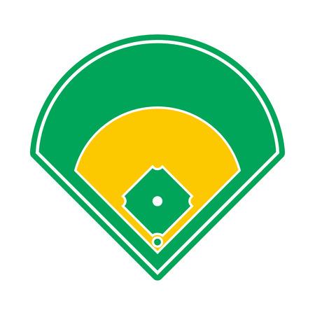 棒球场图标在平面风格孤立的白色背景
