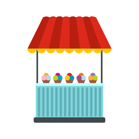 vitrine: Tent with ice cream icon in flat style isolated on white background