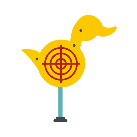 Yellow duck target icon in flat style isolated on white background