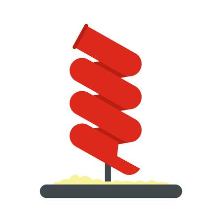 water chute: Tubular slide icon in flat style isolated on white background