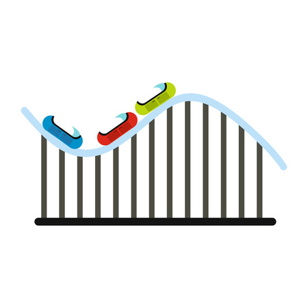 roller coaster: Roller coaster icon in flat style isolated on white background Illustration