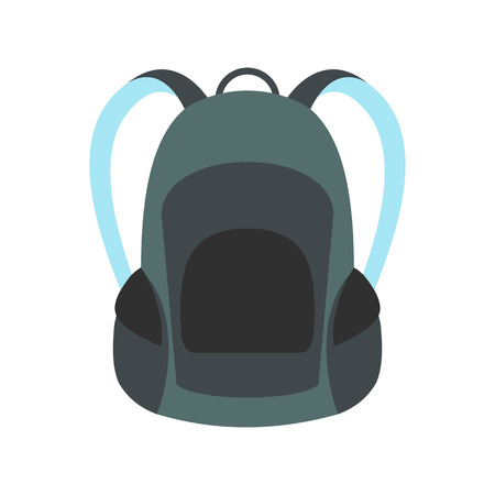 tourist tourists: Touristic backpack icon in flat style isolated on white background