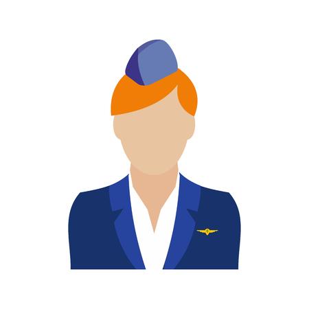stewardess: Stewardess icon in flat style isolated on white background