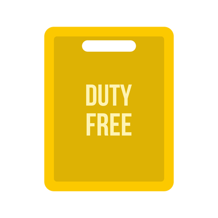 duty: Duty free bag icon in flat style isolated on white background