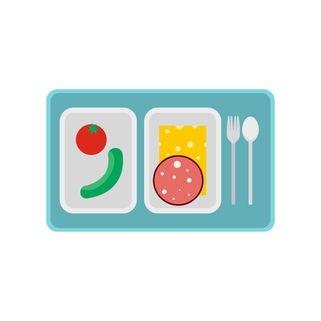food tray: Airplane lunch icon in flat style isolated on white background Illustration