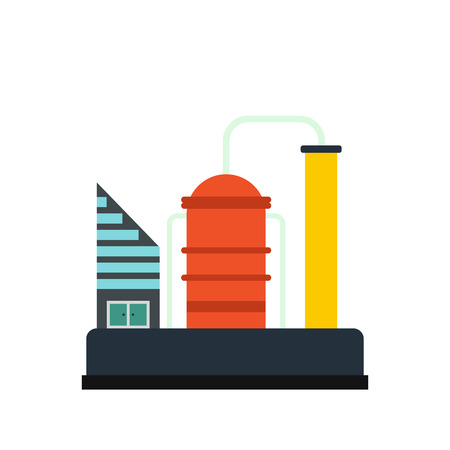 chemical plant: Oil refinery or chemical plant icon in flat style isolated on white background