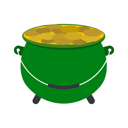 golden pot: Green pot full of gold coins icon in flat style isolated on white background