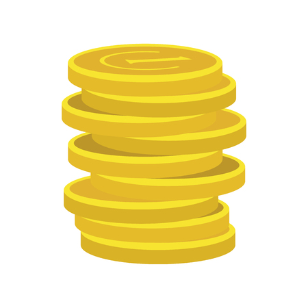 lucky clover: Lucky gold coin icon in flat style isolated on white background Illustration
