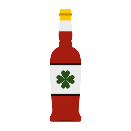 irish pub label: Beer bottle with a clover on the label icon in flat style isolated on white background