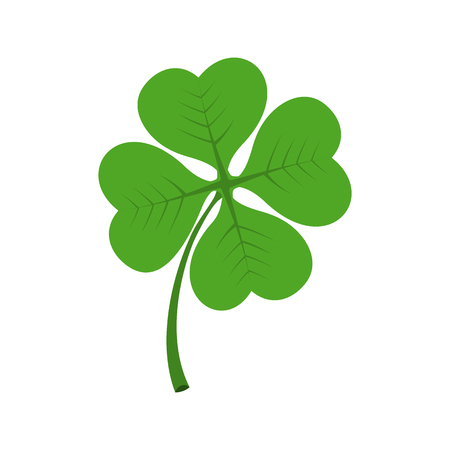 Four leaf clover icon in flat style isolated on white background