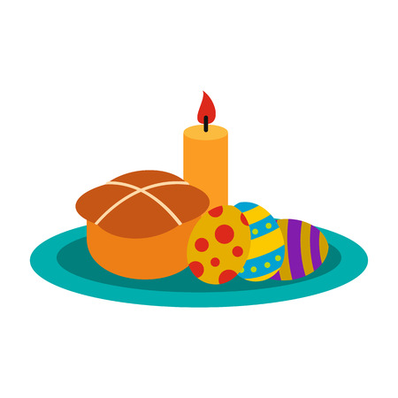 easter candle is burning: Easter cake with eggs and burning candle icon in flat style isolated on white background