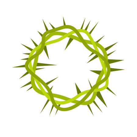 redemption: Crown of thorns icon in flat style isolated on white background